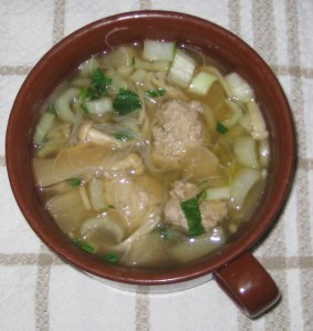 Tasty and filling chicken dumpling soup