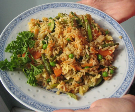 """Free Spirit"" Fried Rice with Asparagus and More Carrots"