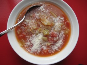 So Very Vegetable Soup with Grated Sheep Romano