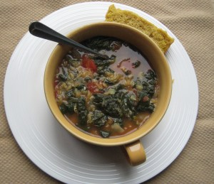 Full of lentils, tomatoes, and spinach.