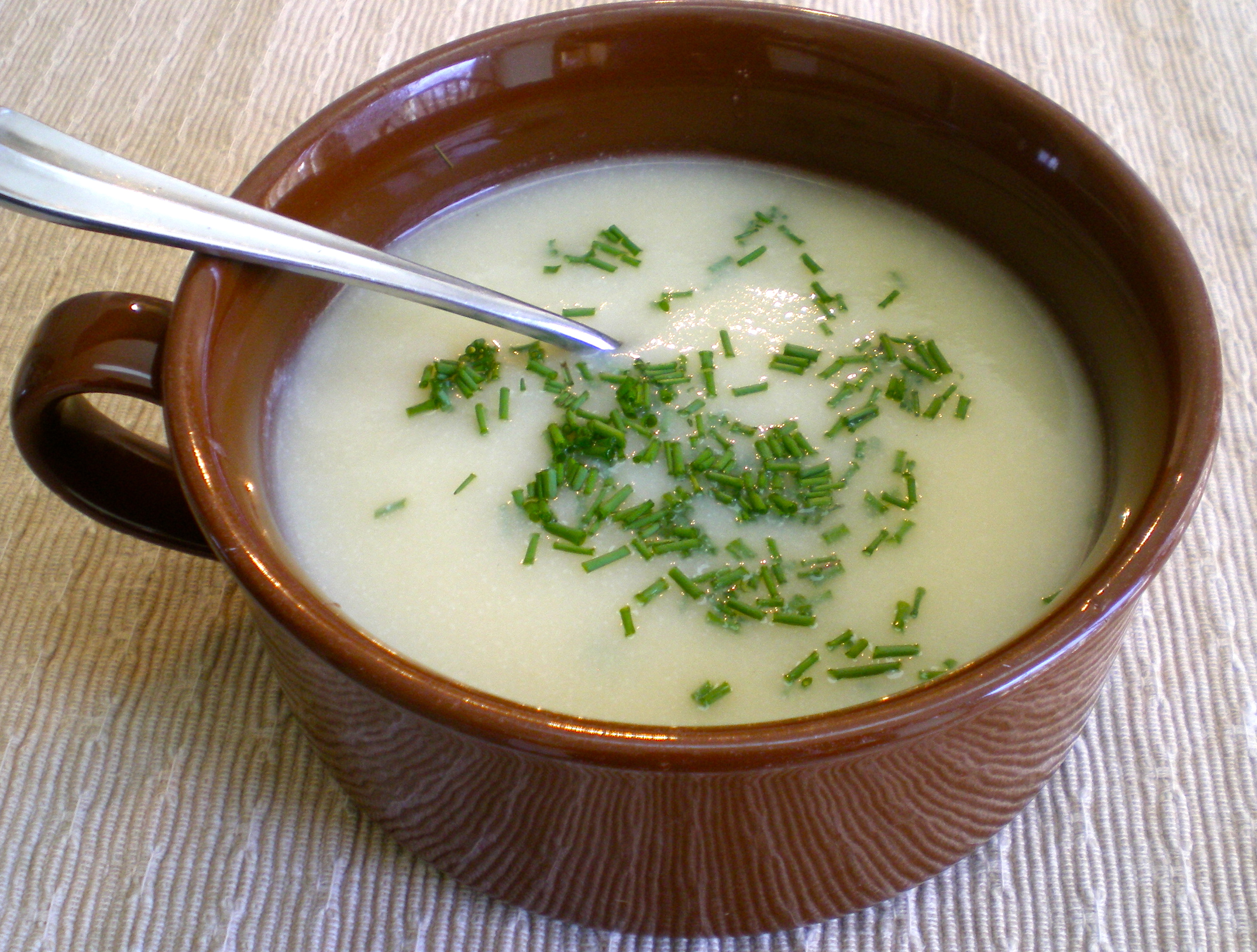 true vichyssoise is a thick soup that includes potatoes and cream ...