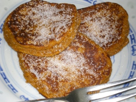 Pumpkin Pancakes sprinkled with erythritol.